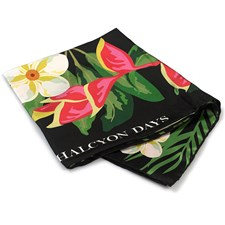Halcyon Days Tropical Flowers Black Silk Scarf