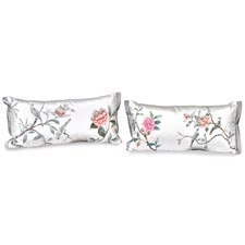 Two White Birds with Pink Flower Pillows