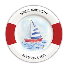 Baby Boy Boat Personalized Plate