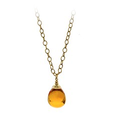 18K Yellow Gold 50 Carat Citrine Drop Pendant