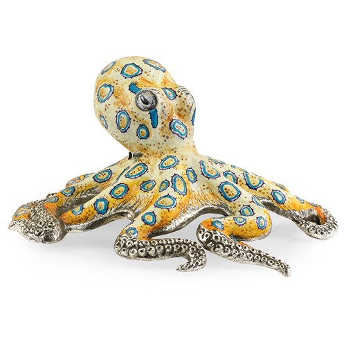 Sterling Silver & Enamel Blue-Ringed Octopus