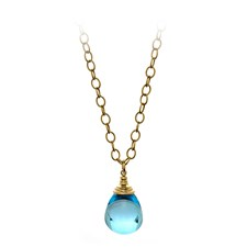 18K Yellow Gold 50 Carat Blue Topaz Drop Pendant