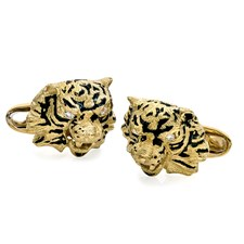 18K Yellow Gold Tiger Face with Diamond Eyes Cufflinks