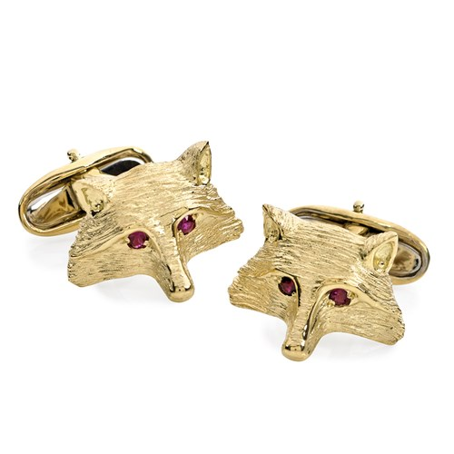 18K Yellow Gold Fox Face with Ruby Eyes Cufflinks
