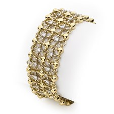 18K Yellow Gold 5 Strand Diamond Mesh Bracelet