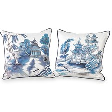 Blue Pagodas Silk Pillows
