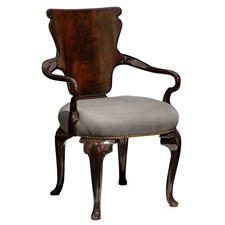 George I Walnut Shield Armchair, Gray