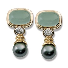 18K Aquamarine Cabochon and Diamond Tahitian Pearl Drop Earrings