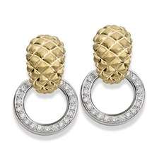 18K Matte Gold Criss-Cross Pineapple Diamond Earrings