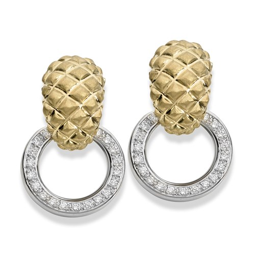 18K Matte Gold Pineapple Diamond Earrings