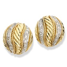 18K Gold Round Diamond Swirl Earrings