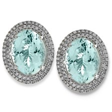 18K White Gold Aquamarine & Diamond Halo Earrings