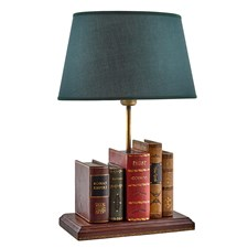 Leather Books Lamp with Green Oval Shade
