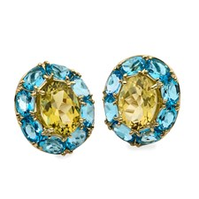 18K Sky Blue Topaz & Lemon Citrine Cluster Earrings