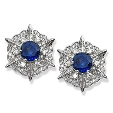18K White Gold Kyanite & Diamond Compass Earrings