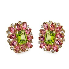 18k Gold Peridot, Pink Tourmaline & Diamond Cluster Earrings