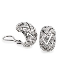 18K White Gold Diamond Cutout Earrings