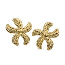 18K Yellow Gold Starfish Earrings