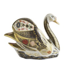 Royal Crown Derby Old Imari Solid Gold Band Swan