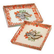 Sea Treasures Lacquered Trays