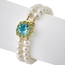 18K Yellow Gold Blue Topaz Diamond Pearl Bracelet