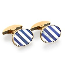 18K Gold Lapis Lazuli Striped Cufflinks