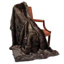 Faux Fur Plaid Sable Wool Throw