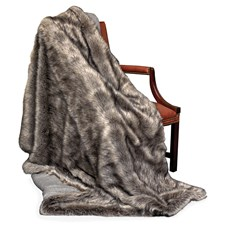 Faux Fur Plaid Silver Fox Geelong Wool Throw