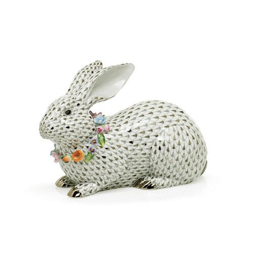 Herend Reserve Gray Bunny with Garland