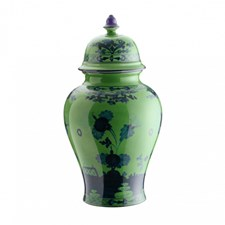 Ginori Oriente Italiano Malachite Potiche Vase with Cover