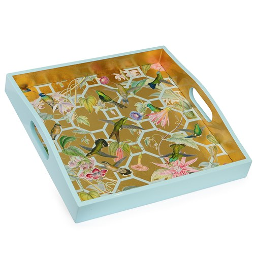 Gold Hummingbird Trellis Lacquered Tray
