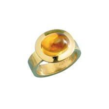 20k Hammered Gold Oval Gemstone Ring