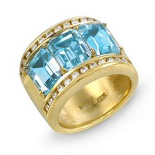 18K Yellow Gold Wide Gemstone & Diamond Ring