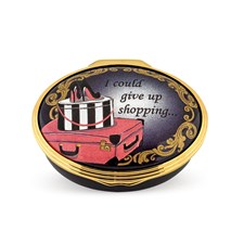 Halcyon Days I Could Give Up Shopping Enamel Box