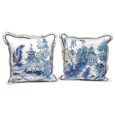 Flanged Blue Pagodas Silk Pillows