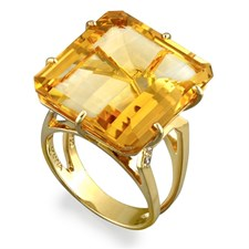 18K Yellow Gold Square-Cut Gemstone Ring