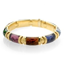 18k Gold Multicolor Tourmaline Bangles