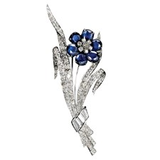 18k White Gold Diamond Sapphire Flower Pin