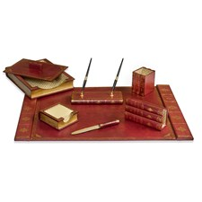 Leather Books Desk Set, Burgundy