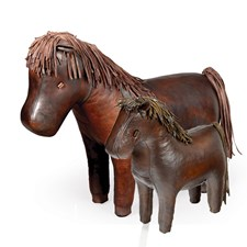 Leather Horse Footstools