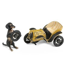 Austrian Bronze Dachshund with Flat Tire