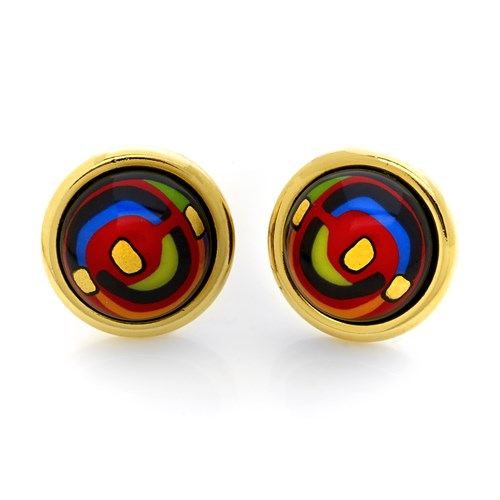 Freywille Hundertwasser Spiral of Life Cabochon Stud Earrings