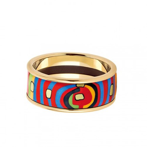 Freywille Hundertwasser Spiral of Life Goldplated Miss Ring