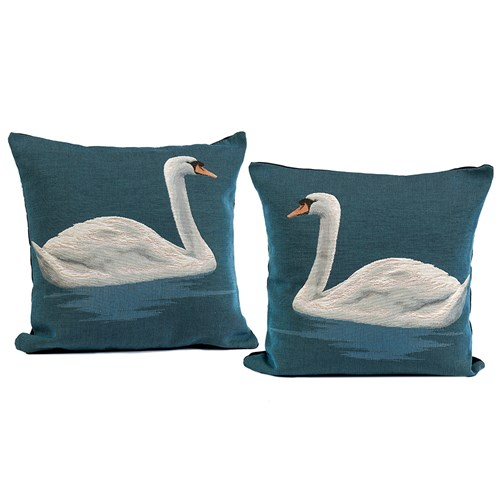 Swan on Lake Tapestry Pillows