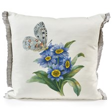 Handpainted Butterfly with Purple Flowers Silk Pillow