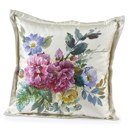 Handpainted Red Roses with Purples Silk Pillow
