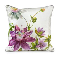 Handpainted Purple Star Flower Silk Pillow