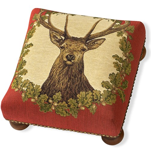 Stag Tapestry Footstool