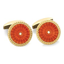18K Gold Burst Diamond Center Cufflinks
