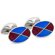 Sterling Silver Quartered Enamel Cufflinks